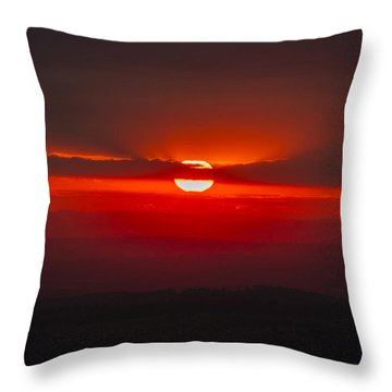 Dark Red Sun In Vogelsberg Throw Pillow