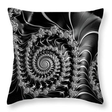 Dark Spirals - Fractal Art Black Gray White Throw Pillow