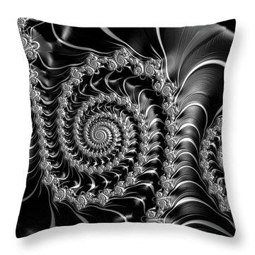 Throw Pillow featuring the digital art Dark Spirals - Fractal Art Black Gray White by Matthias Hauser