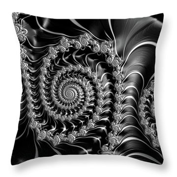 Dark Spirals - Fractal Art Black Gray White Throw Pillow