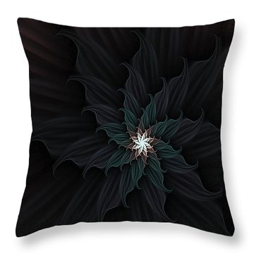 Dark Star Flower Throw Pillow