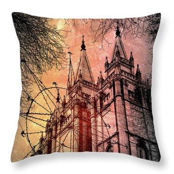 Dark Temple Throw Pillow