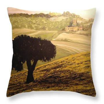 Throw Pillow featuring the painting Dark Tree In The Vast by Ray Khalife