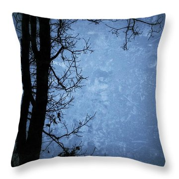 Dark Tree Silhouette  Throw Pillow