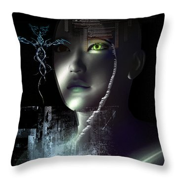 Throw Pillow featuring the digital art Dark Visions by Shadowlea Is