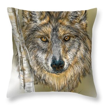 Throw Pillow featuring the digital art Dark Wolf With Birch by Darren Cannell