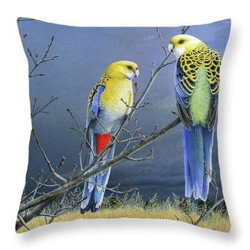 Darkness Before The Deluge - Pale-headed Rosellas Throw Pillow