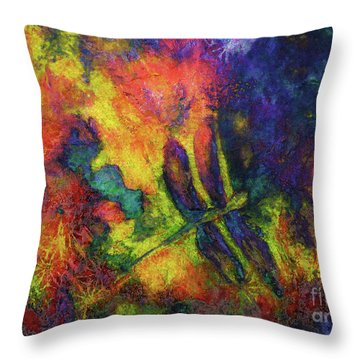 Darling Darker Dragonfly Throw Pillow by Claire Bull