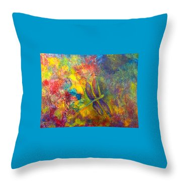 Throw Pillow featuring the painting Darling Dragonfly by Claire Bull