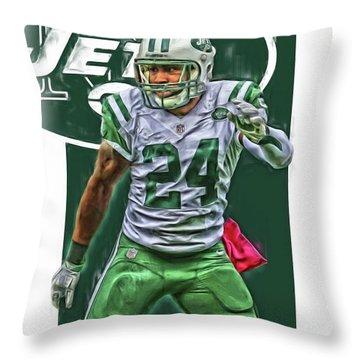 Darrelle Revis New York Jets Oil Art Throw Pillow