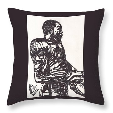 Throw Pillow featuring the drawing Darren Mcfadden 1 by Jeremiah Colley