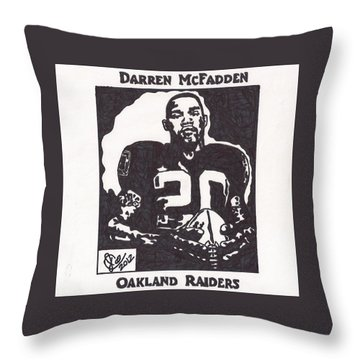 Throw Pillow featuring the drawing Darren Mcfadden 2 by Jeremiah Colley