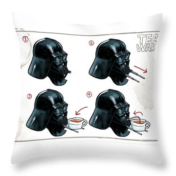 Throw Pillow featuring the digital art Darth Vader Tea Drinking Star Wars by Martin Davey