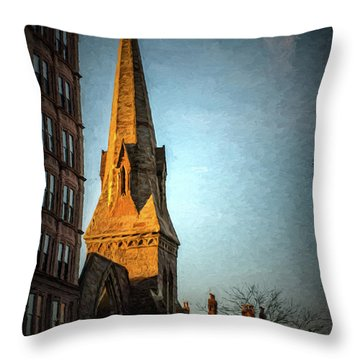 Dartmouth Street In Boston Throw Pillow