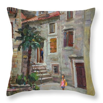 Dasha In The Old Town Throw Pillow