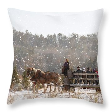 Dashing Through The Snow Throw Pillow by Inspired Arts