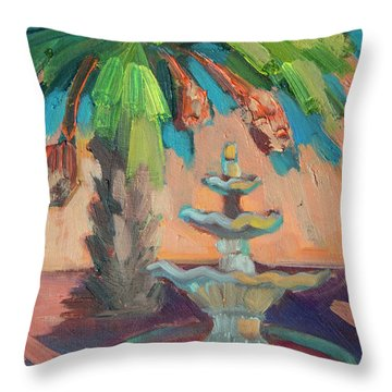 date Palm and Fountain Throw Pillow