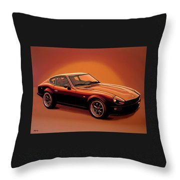 Datsun 240z 1970 Painting Throw Pillow