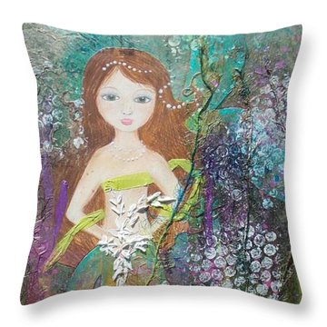 Throw Pillow featuring the mixed media Daughter Of The Sea by Virginia Coyle