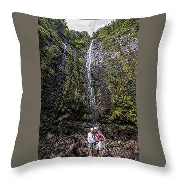 Dave And Elaine At Waimoku Falls Throw Pillow