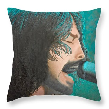 Throw Pillow featuring the painting Dave Grohl Of The Foo Fighters by Cindy Lee Longhini