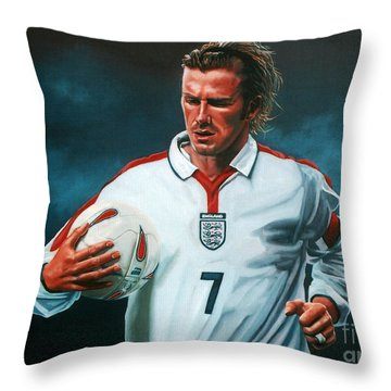 David Beckham Throw Pillow by Paul Meijering