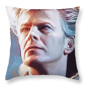 Throw Pillow featuring the painting David Bowie Artwork 2 by Sheraz A