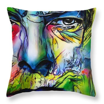 Throw Pillow featuring the painting David Bowie by Eric Dee