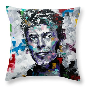Throw Pillow featuring the painting David Bowie II by Richard Day
