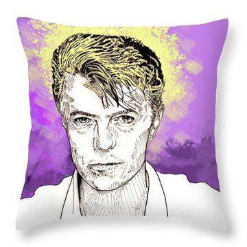 David Bowie Throw Pillow by Jason Tricktop Matthews