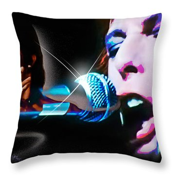 Throw Pillow featuring the photograph David Bowie  - Jean Genie by Glenn Feron