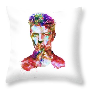 David Bowie  Throw Pillow by Marian Voicu
