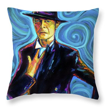 Throw Pillow featuring the painting David Bowie by Robert Phelps