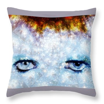 David Bowie / Stardust Throw Pillow by Elizabeth McTaggart