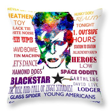 David Bowie Tribute Throw Pillow
