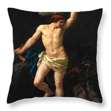 David Victorious Throw Pillow by Jean Jacques II Lagrenee