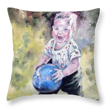 David With His Blue Ball Throw Pillow