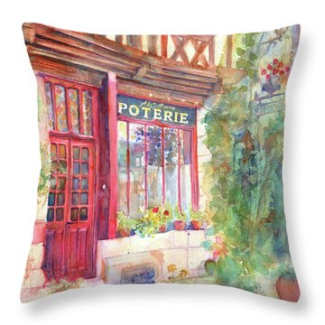 David's Europe 2 - A And C Squire Poterie European Street Scene Watercolor Throw Pillow by Yevgenia Watts