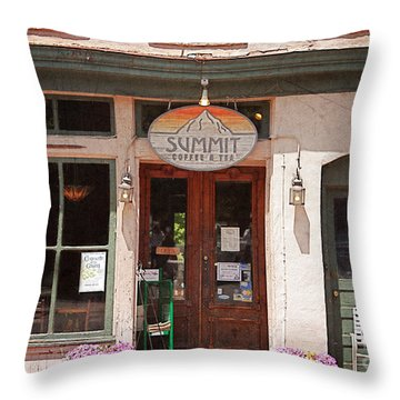 Davidson North Carolina Coffee Shop Throw Pillow