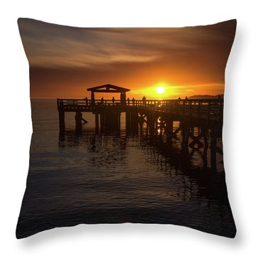 Davis Bay Pier Sunset 2 Throw Pillow