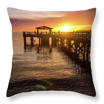 Davis Bay Pier Sunset 4 Throw Pillow