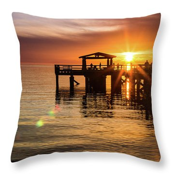 Davis Bay Pier Sunset 5 Throw Pillow