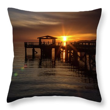 Davis Bay Pier Sunset Throw Pillow