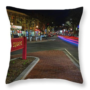 Davis Square Sign Somerville Ma Mikes Throw Pillow