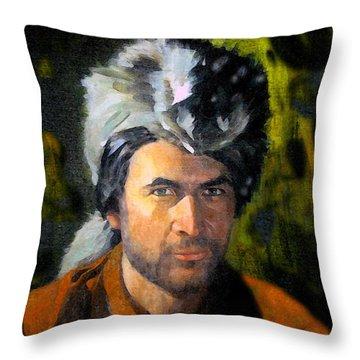 Davy Crockett Throw Pillow by David Lee Thompson