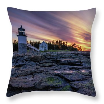 Dawn Breaking At Marshall Point Lighthouse Throw Pillow