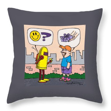 Dawkins The Robot 69 Throw Pillow