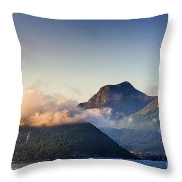 Dawn Along The Nordfjord  Throw Pillow