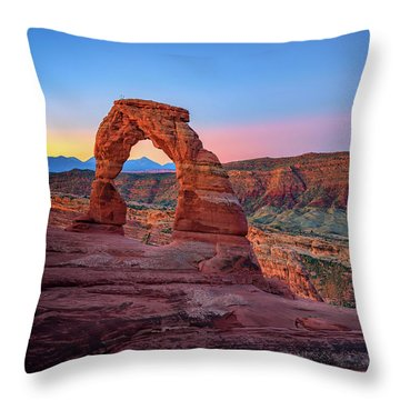 Throw Pillow featuring the photograph Dawn At Delicate Arch by Rick Berk