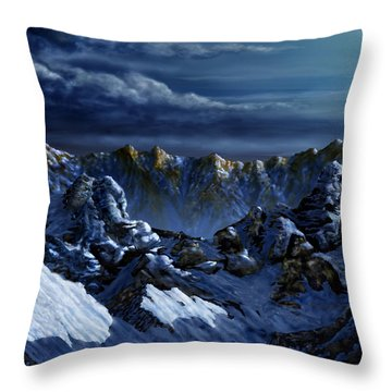 Throw Pillow featuring the digital art Dawn At Eagle's Peak by Curtiss Shaffer